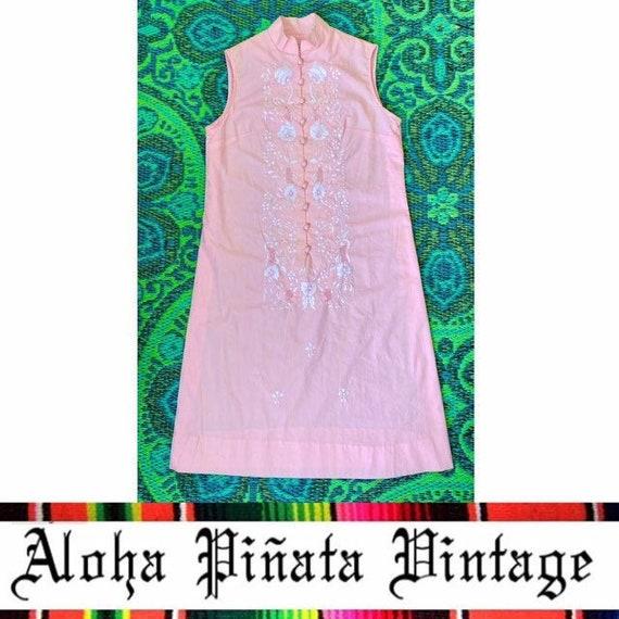 Vintage Embroidered Floral Cotton Dress