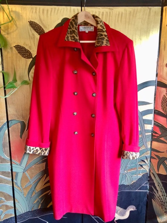 Vintage Red Wool Double Breasted Coat With Leopard