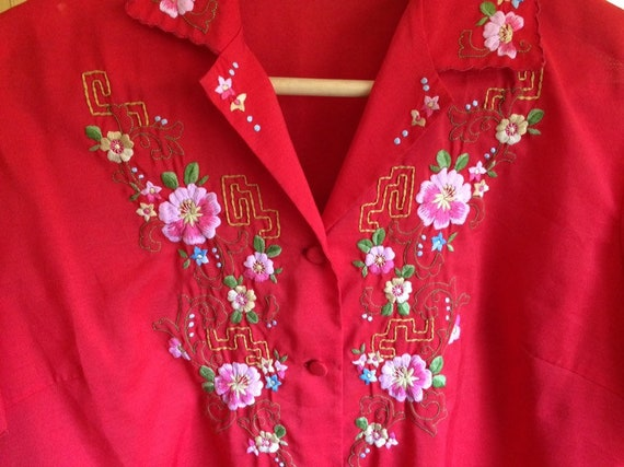 Vintage Embroidered Red Blouse