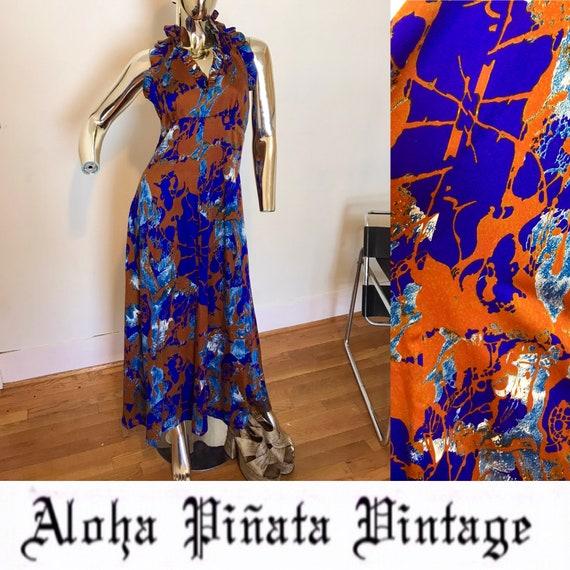 Vintage Hawaiian Halter Maxi Dress