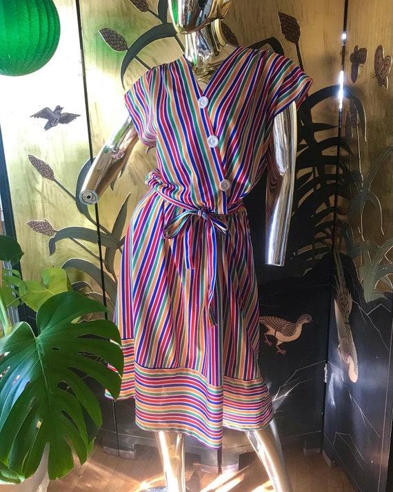 Vintage Rainbow Dress 70s