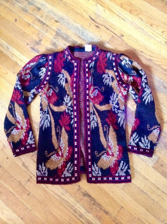 Vintage Butterfly Italian knit Cardigan with beau… - image 1