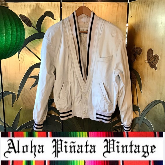 Vintage Leather Cardigan Jacket by CHIA