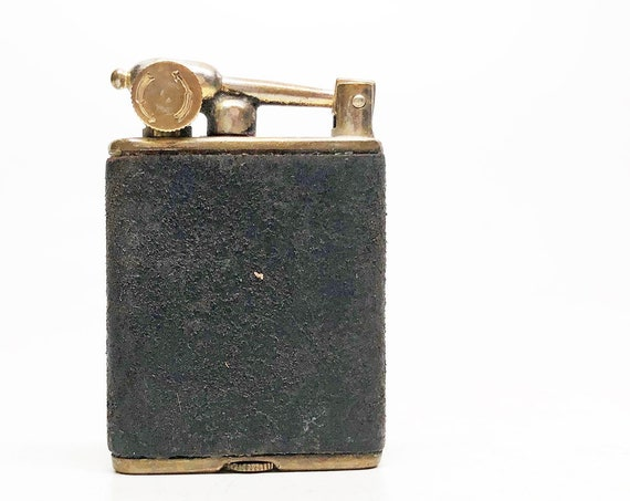 1940s Rex Lighter - 1930s Rex Gem Old Antique Brass Lift Arm Leather Wrapped USA Made Lighter