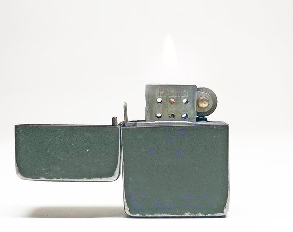 ANTIQUE MILITARY LIGHTER - Working Rare Old 1940s Green Out Park Sherman Flip Top Lighter