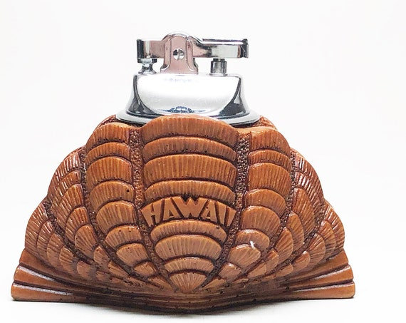 1960s Hawaiian Hapa Wood Shell Shaped Lighter