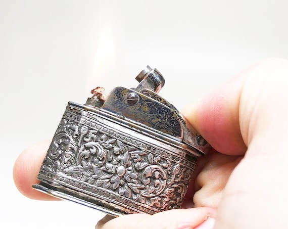 Working Myon Lighter - 1930s French Ornate Sterling Silver Wrapped Autolux Pocket Lighter