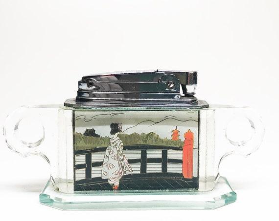Lucite 1950s Geisha / Mt Fuji Japanese Scene Table Lighter