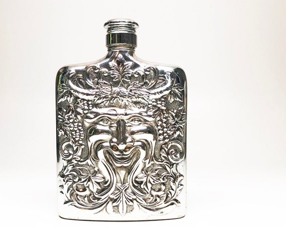 GOD of WINE FLASK - Silver Plated Bacchus Face Repousse Godinger Hip Flask in Original Box