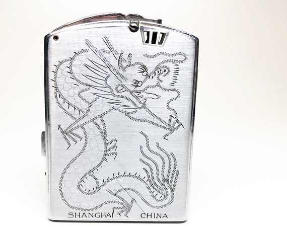 Etched Japanese Dragon Lighter and Cigarette Case Combo