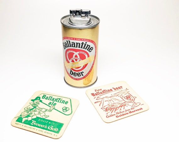 1950s Ballentine Beer Can Lighter with Two Vintage Coasters