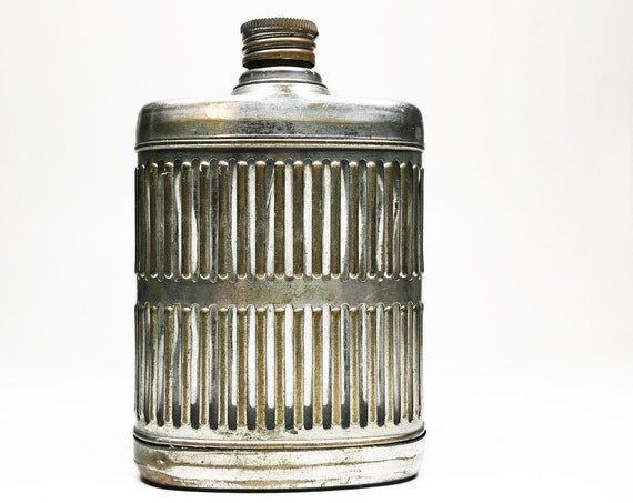 Vintage Brass and Glass 6 Ounce 1940s Hip Flask