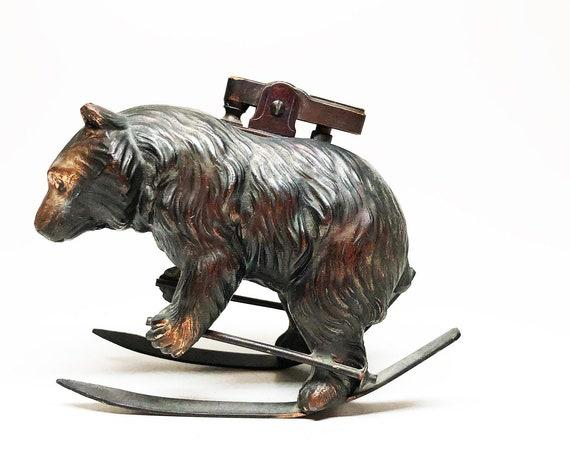 1950s Skiing Bear Figural Japanese Lighter