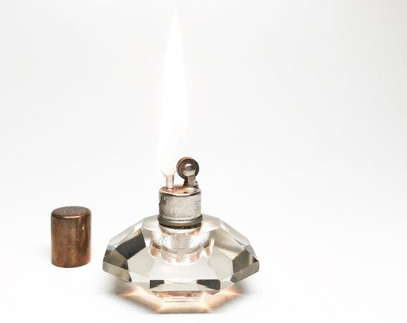 1930s Octagonal Strikalite Glass Table Lighter