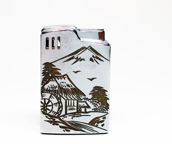 Etched Japanese Themed Music Box 1960s Lighter
