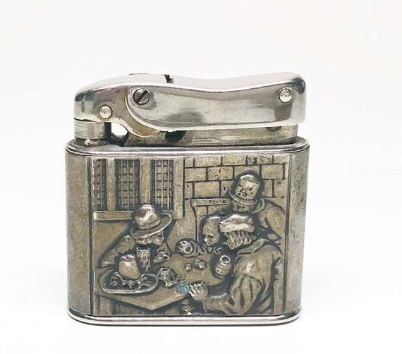 835 Silver 1940s Gambling Themed German Lunder 1000 Lighter