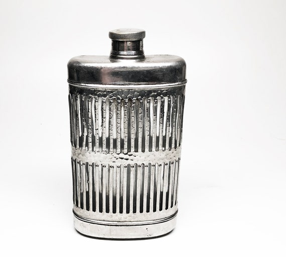 Vintage Metal and Glass 6 Ounce 1940s Hip Flask