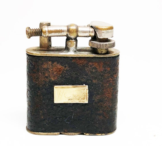 1927 Golden Wheel Lighter with 14k Gold Initial Plate