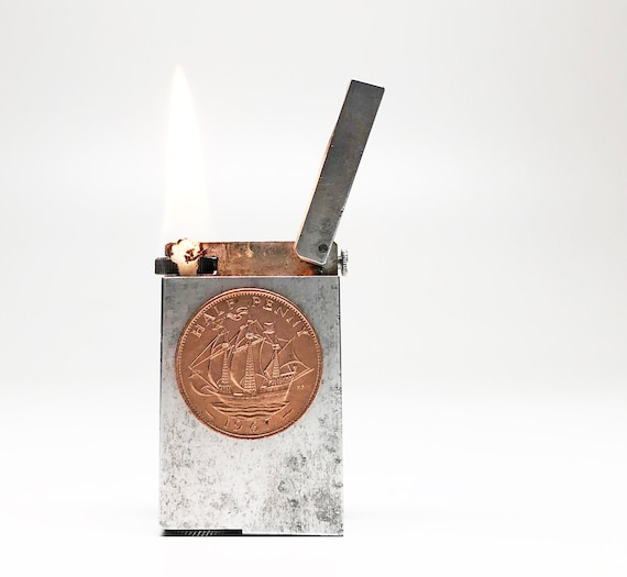 HALFPENNY BLOCK LIGHTER - 1960s Rare Half Penny Clipper Ship Block Machined Aluminum Lighter