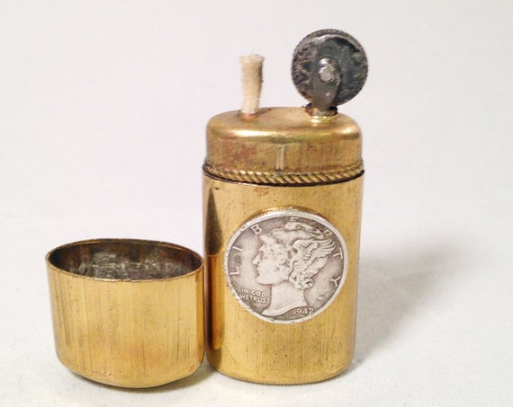 ANTIQUE MERCURY DIME Lighter - Working Old Jhonar Diana Trench Lighter branded with Vintage 90% Silver Liberty Dime