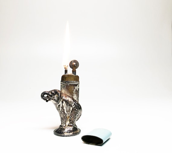ART NOUVEAU LIGHTER - Working 1920s Meb Figural Elephant Antique Enameled Sleeve Table Lighter Made in Germany