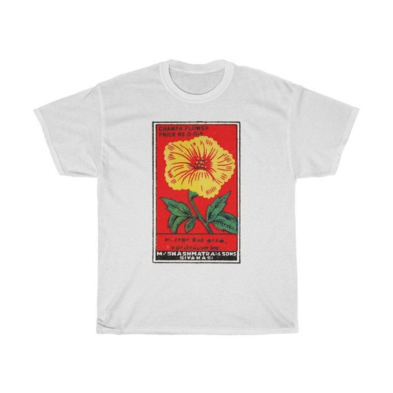Champa Flower Themed Safety Matchbox T-Shirt - Vintage Sivakasi, India Indian Match Box Print Tshirt