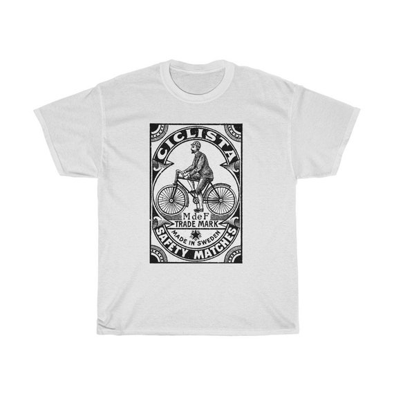 "Bicycle Themed ""Ciclista"" Safety Matchbox T-Shirt - Vintage Swedish Match Box Bike Print Tshirt"