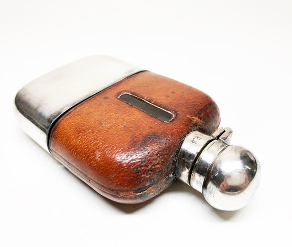 Victorian Leather Metal and Glass Hip Flask