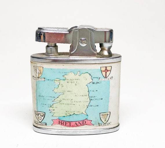 1050s Ireland Map and Traditional Irish Harpist Lighter
