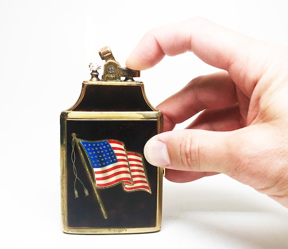 Ronson American Flag Mastercase Lighter and Cigarette Case with Original Box
