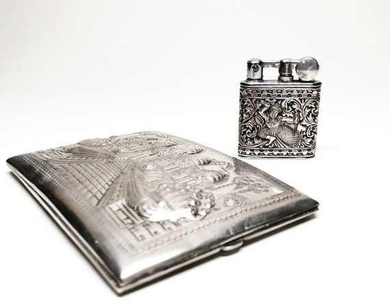 Sterling Silver Sleeve French 1920s Myon Lighter and Cigarette Case Set