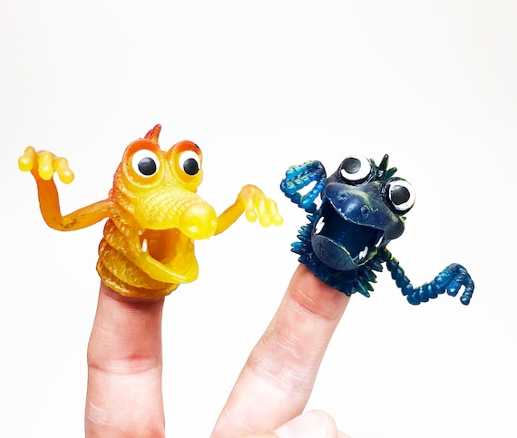 1980s Finger Puppet Monster Pair