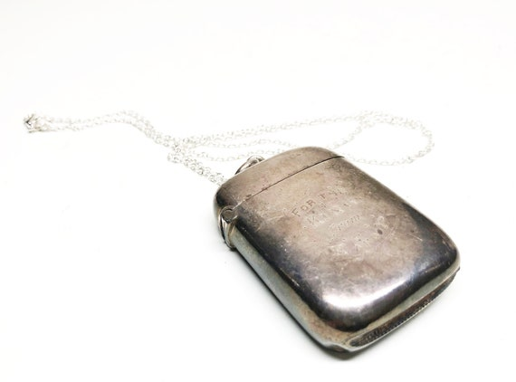 "ANTIQUE STERLING VESTA - Sterling Silver Victorian 1889 Engraved Match Vesta with 24"" Sterling Chain"
