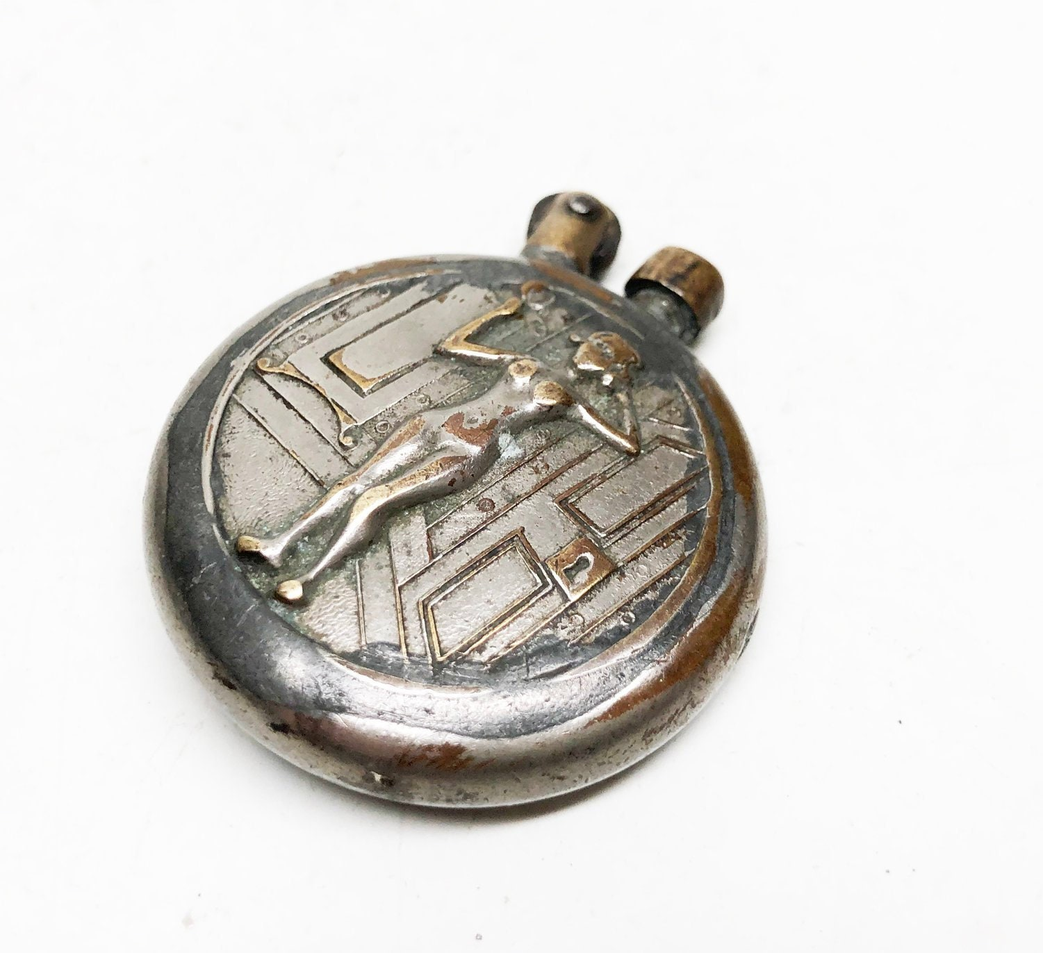 ANTIQUE TRENCH LIGHTER - Working Brass Old Risque
