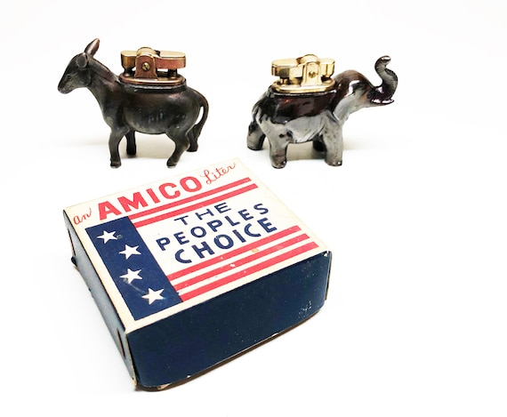 Vintage Japanese Amico Political Party Lighter Set