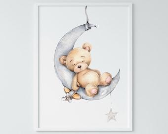 Teddy Bear Art Print Etsy