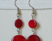 Cherry Red 60s Retro Mod Lucite Flat Circle Dangle Earrings