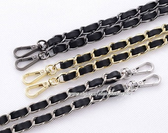 Black Metal Chain for Handbag Purse Shoulder Cross Body Replacement Chain Strap Accessories with Alloy Buckles Lokunn 47 Fashion DIY Flat Chain Strap