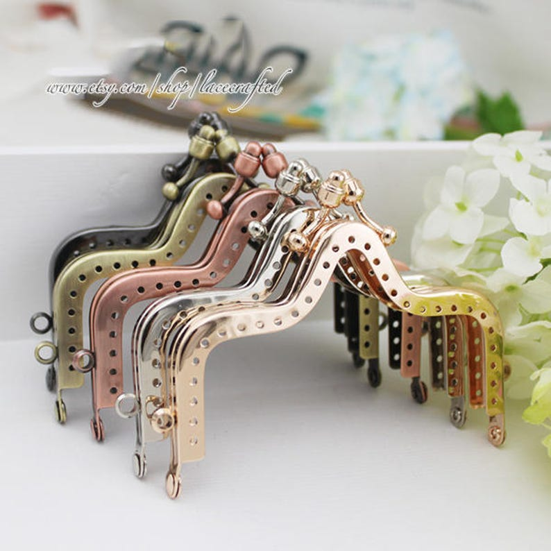 2pcs 10cm3.9inches vintage coining sewing frame crown frame double bobble metal frame for tote purse bag coin clutch shoulder making