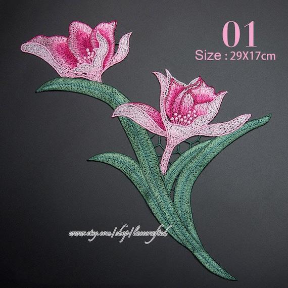 1 st ck orchidee blume stickerei applikationen trim patch etsy - Stickerei applikationen ...