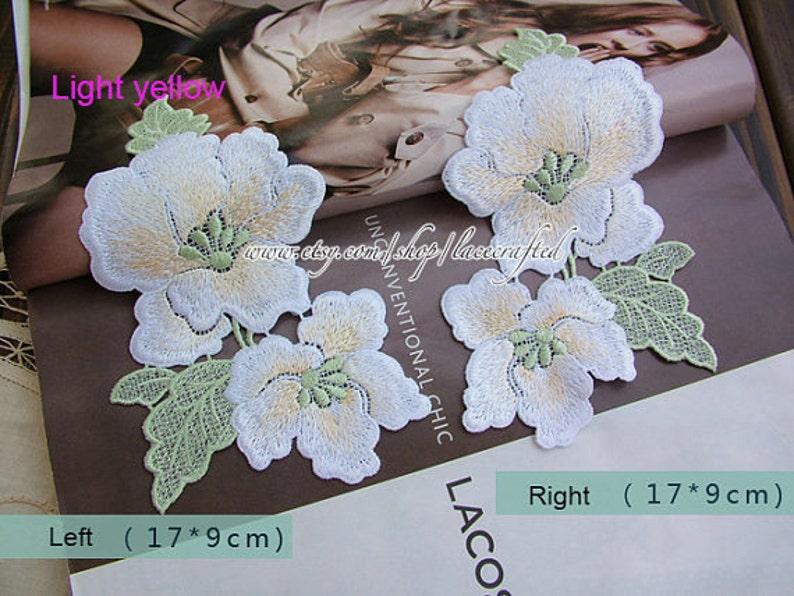 1 Pair White Magnolia Flower Lace Embroidery Appliques Trim Etsy