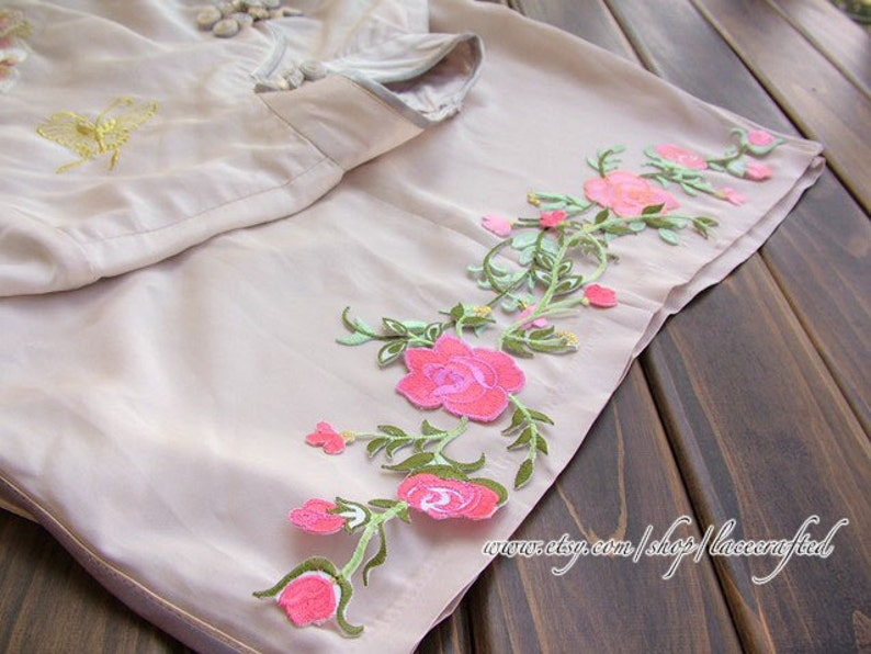 Shabby chic rose flower applique embroidery appliques in rosy etsy