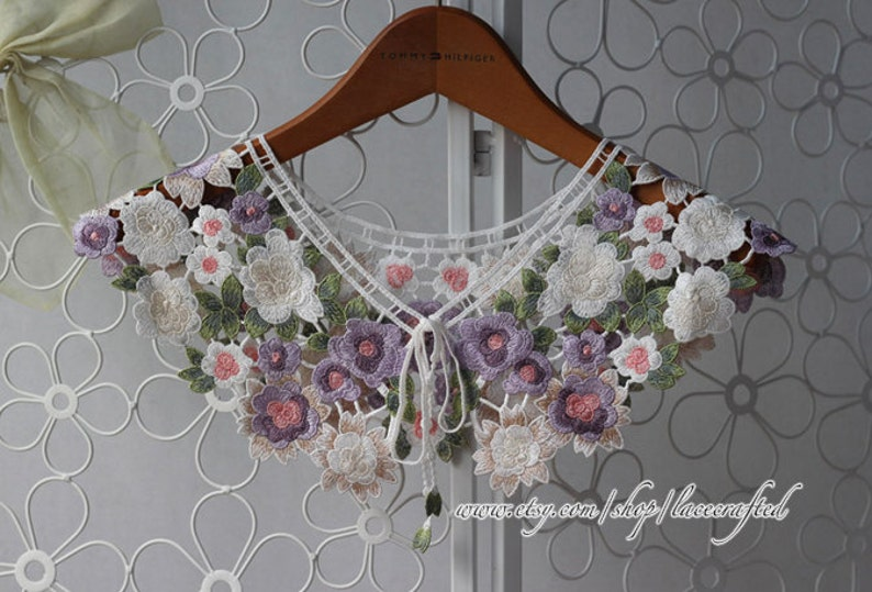 1pc Red-crowned Cranes Floral Lace Embroidery Applique Collar Altered Clothing