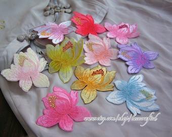 3pcs- Lotus Flower Lace Applique, Embroidery Appliques, Shabby Chic Floral Patch, Iron on Applique