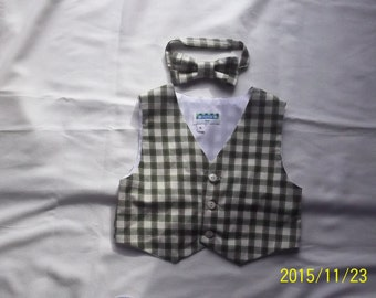 Baby/Toddler Green and Beige Plaid Suiting Vest and Matching Bowtie- Size 2T,3T,4T,5T