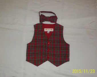 Baby/Toddler Red Multi-Colored Plaid Suiting Vest and Matching Bowtie- Size  2T, 3T,,5T