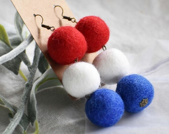 O\u2019FANTASTIClab marble look felt ball fashion howlite earrings statement earrings holiday gift Felt ball earrings dangle earrings