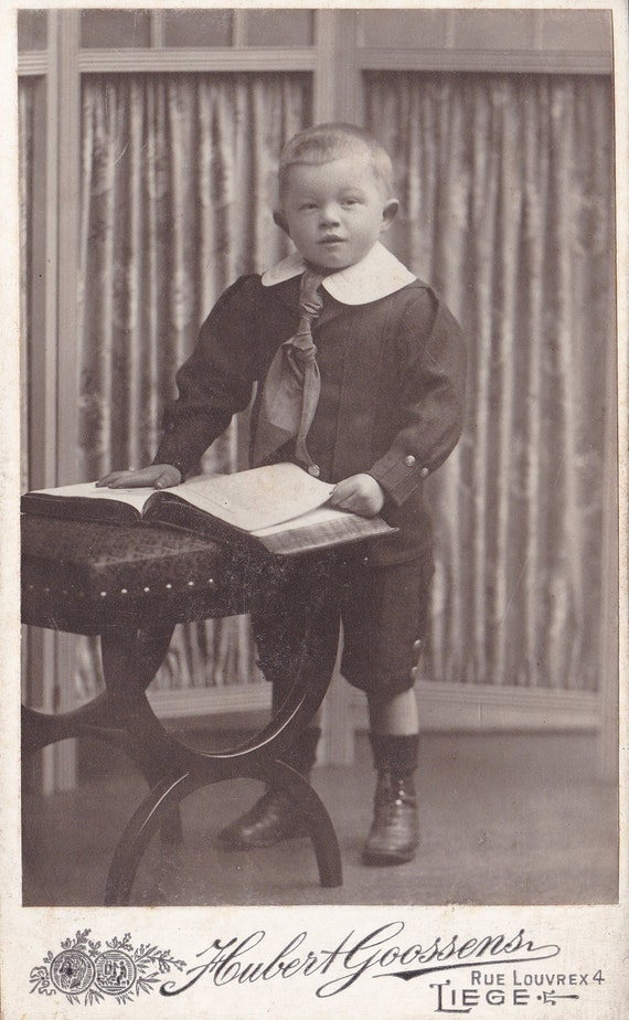 Antique CDV Photograph Little Boy Posing With Open Book