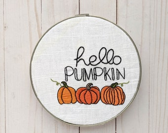 Hello Pumpkin Hand Embroidery Pattern // Autumn Fall Embroidery
