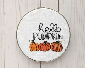 Hello Pumpkin Hand Embroidery KIT // Autumn Fall Embroidery
